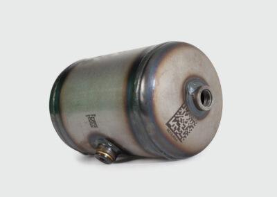 Lasergravur auf Stahl Druckbehälter